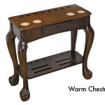 Carved Leg style cue rack with ball and claw legs with accessor drawer