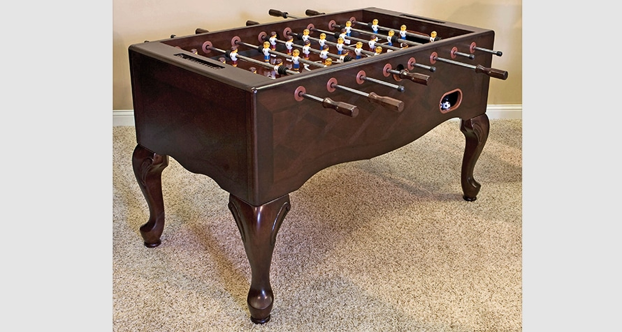 Furniture style foosball table with queen anne legs