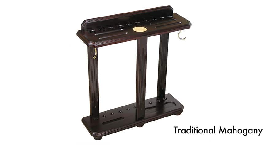 Floor style cue rack that holds 10 cues, ball set