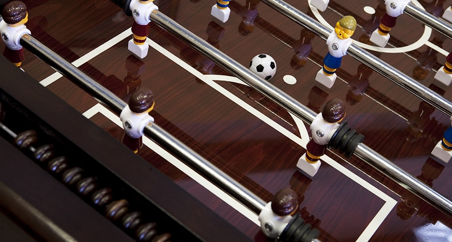 Foosball table with playfield detail