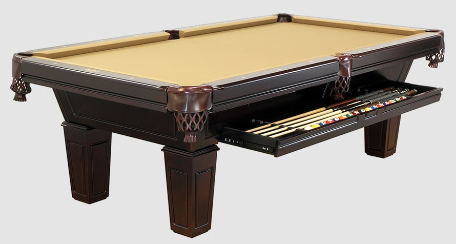 Duke pool table with pedestal legs and accessory drawer