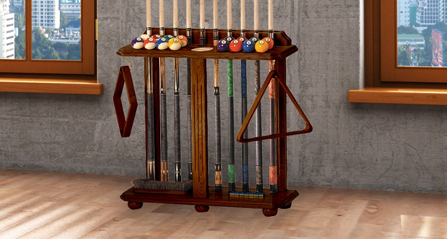 Floor style cue rack that holds 10 cues, ball set, brushes and chalk