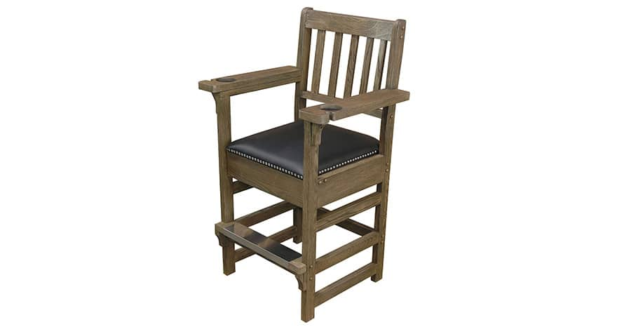 Viking spectator chair with hidden accessory drawer in rustic antique oak finish