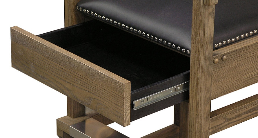 Viking spectator chair with hidden accessory drawer