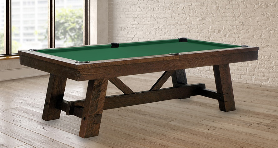 Tunbridge Pool Table with rustic wood construction in room setting