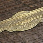 CL Bailey Company nameplate in top rail of the Tunbridge pool table